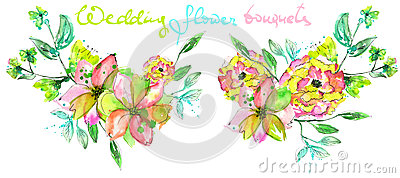 Set of watercolor bouquets with pink, yellow and green flowers and green leaves Stock Photo