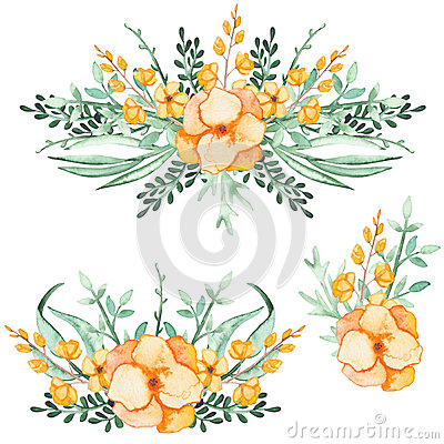 Set Of Watercolor Bouquets With Yellow Flowers and Green Leaves Stock Photo