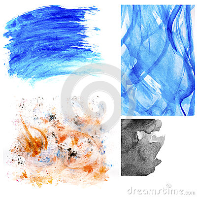 Set of watercolor stains and brush strokes