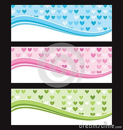 Set of wave background banner or header.