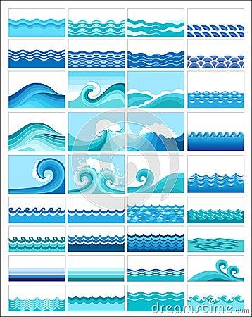 Set of wave illustrations
