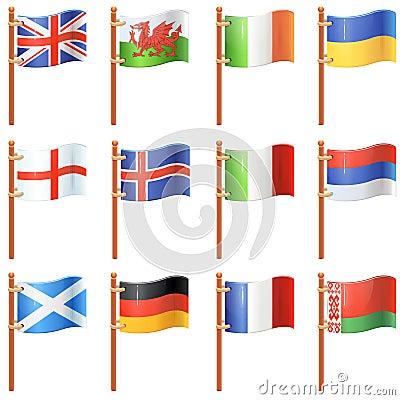 Set of waving flags