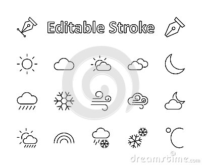 Set of weather vector line icons. Contains symbols of the sun, clouds, snowflakes, wind, rainbow, moon and much more. Editable mov Stock Photo