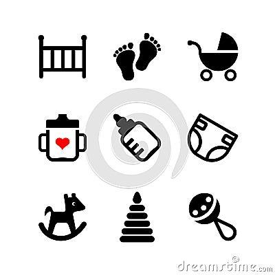 Set 9 web icon. Baby, suckling, child