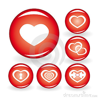 Set of web icons with hearts for your design