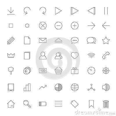 Set of web thin line icons in grey