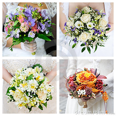 Set of wedding bouquets