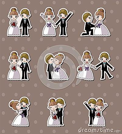 Set of wedding ,Bridegroom and Bride stickers