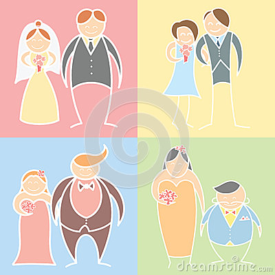 Set of wedding couples