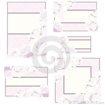 Set of wedding designs with roses, in pink