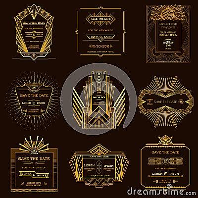 set of wedding invitation cards art deco cartoon vector