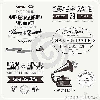 Set of wedding invitation typographic elements