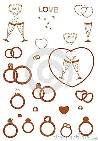A set of wedding items