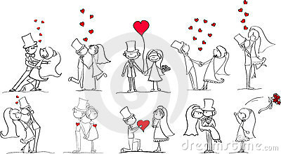 Set of wedding pictures vector