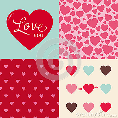 Set of wedding valentine heart pattern background
