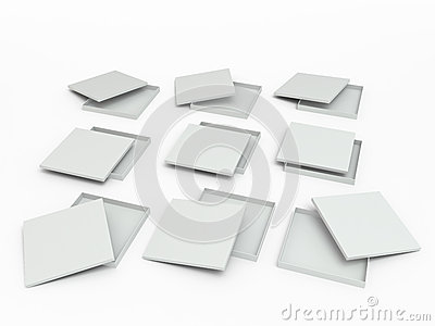 Set of white boxes