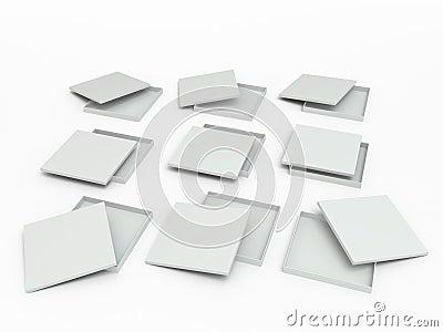 Set of white boxes