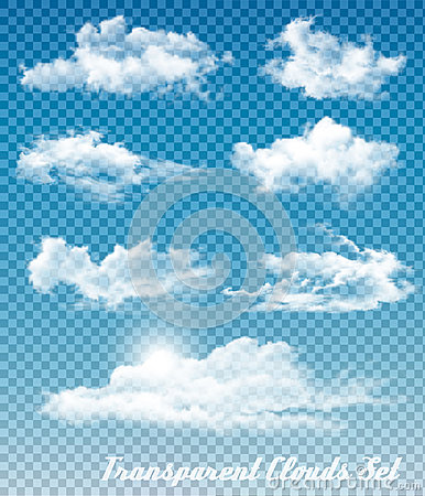Set of white clouds on a transparent sky background. Vector Illustration