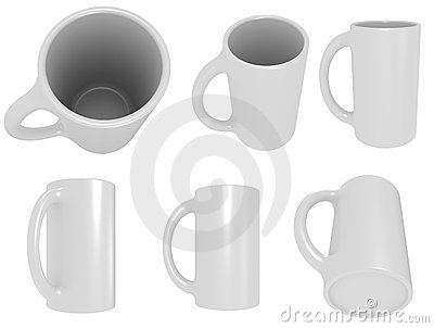 Set of white cups