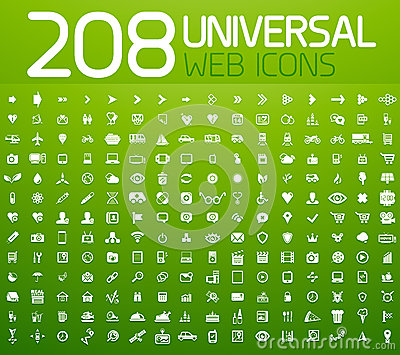 Set of 208 vector universal icons