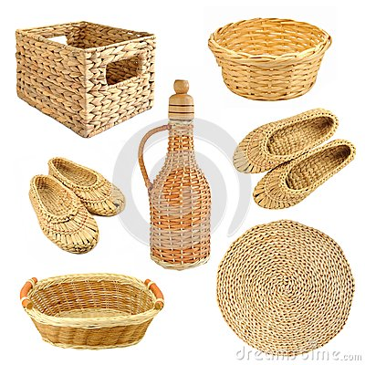 Set of wicker objects