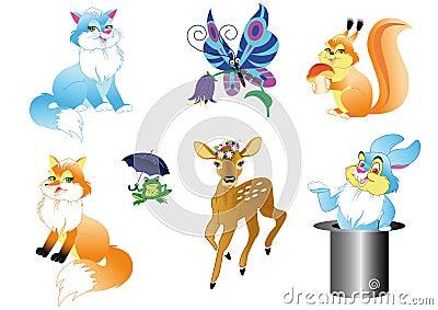 Set of the wildlifes cartoon