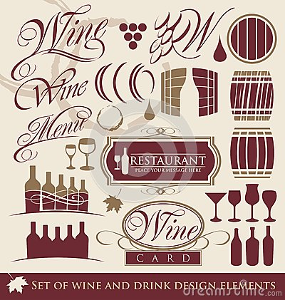Set of wine design elements.