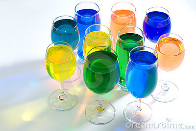 Set of wine glass and color water