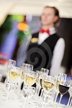 Set of wine glasses with waiter