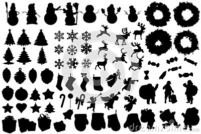 Set of winter and christmas silhouettes. Christmas collection. Clip art for banner, flyer, business, card, poster. Vector Illustration