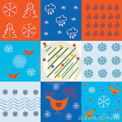 Set of winter holidays patterns