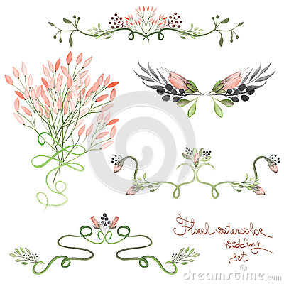 Free Set With Frame Borders, Floral Decorative Ornaments With Watercolor Flowers, Leaves And Branches For Wedding Royalty Free Stock Photo - 61004475