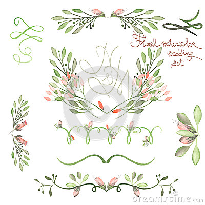 Free Set With Frame Borders, Floral Decorative Ornaments With Watercolor Flowers, Leaves And Branches For Wedding Stock Images - 61006554