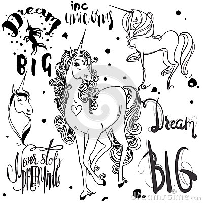 Free Set With Ink Unicorns Stock Photos - 70035013