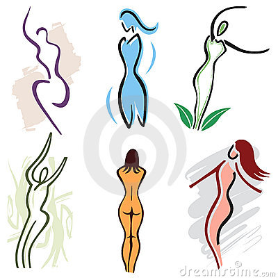 Set Woman Body Icons - Nature, Sports and Fitness Vector Illustration