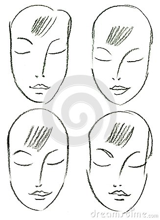 Set of woman s faces