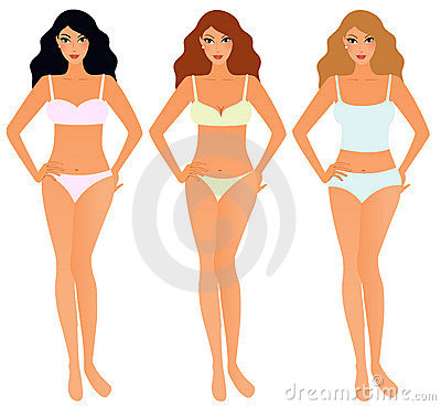 Set of women in underwear
