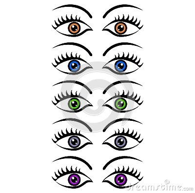 Set of womens eyes