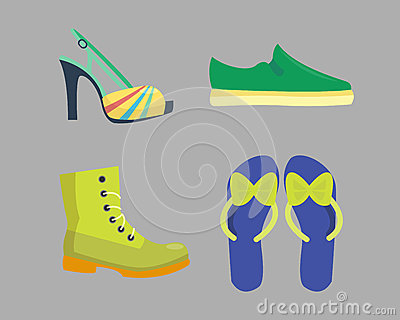 Set of womens shoes flat design vector collection of leather colored moccasins boots illustration. Vector Illustration