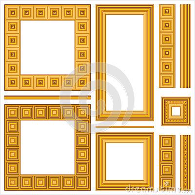 Set of wooden frames and seamless borders