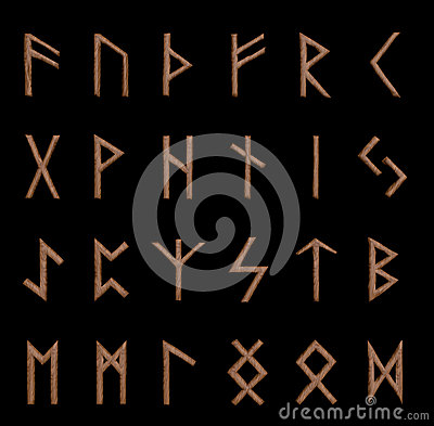 Set of wooden runes