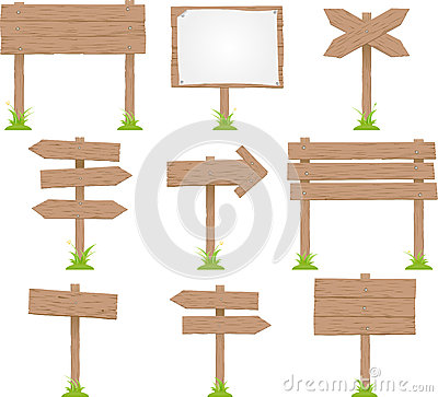Set Of Wooden Sign