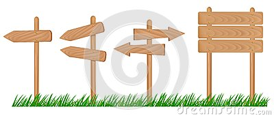 Set of wooden sign with grass .