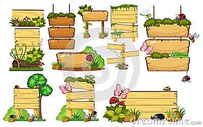 Set of wooden signs Vector Illustration