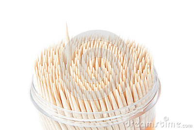 A set of wooden toothpicks, an isolated.