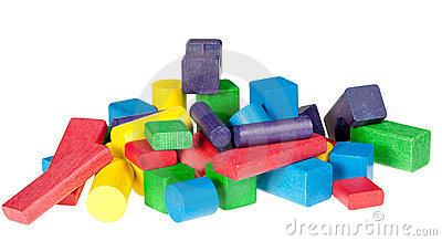 Set of wooden toys of blocks