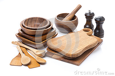 Set of wooden utensils, isolated