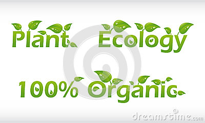 Set Of Words With Leafs - Plant, Ecology And 100% Royalty Free ...