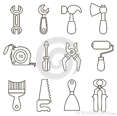 set working tools icons coloring book 39103451 including construction worker coloring pages 1 on construction worker coloring pages as well as construction worker coloring pages 2 on construction worker coloring pages as well as construction worker coloring page on construction worker coloring pages moreover construction worker coloring pages 4 on construction worker coloring pages