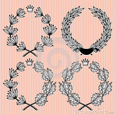 Set of wreath of laurel and oak leaves